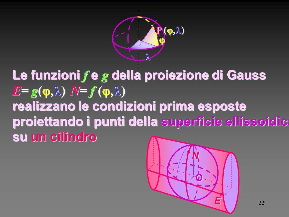 22 P ( N E O Le funzioni f e g della proiezione di Gauss E= g( N= f ( realizzano le condizioni prima esposte proiettando i punti della superficie ellissoidica su un cilindro