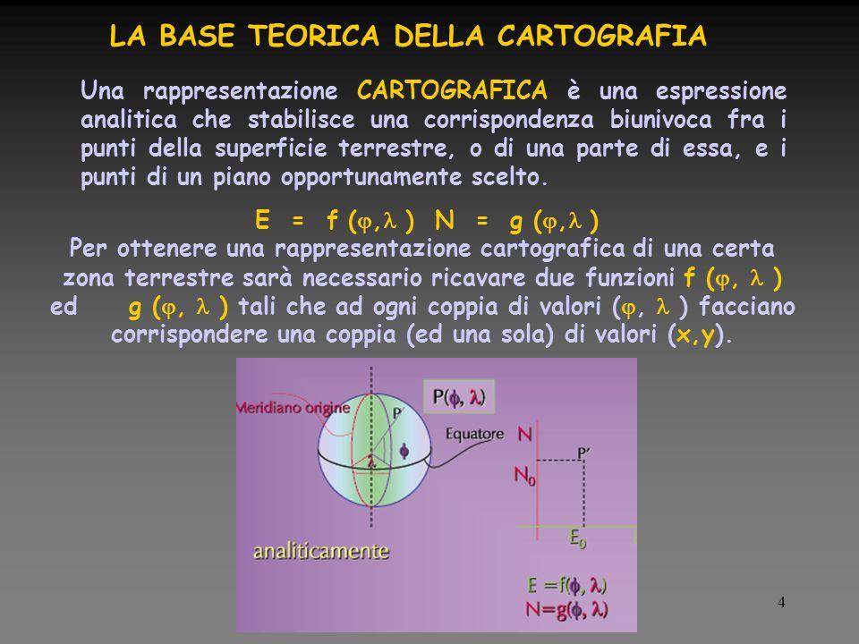 4 LA BASE TEORICA DELLA CARTOGRAFIA Una rappresentazione CARTOGRAFICA è una espressione analitica che stabilisce una corrispondenza biunivoca fra i punti della superficie terrestre, o di una parte di essa, e i punti di un piano opportunamente scelto.