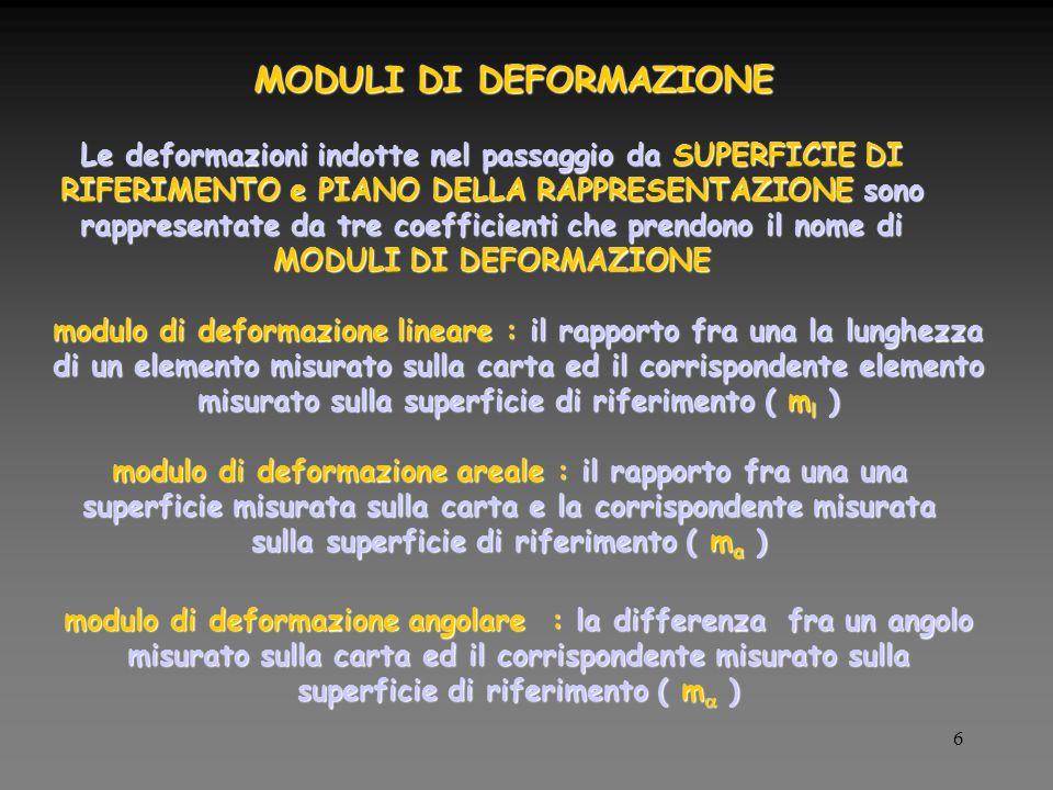 6 MODULI DI DEFORMAZIONE Le deformazioni indotte nel passaggio da SUPERFICIE DI RIFERIMENTO e PIANO DELLA RAPPRESENTAZIONE sono rappresentate da tre coefficienti che prendono il nome di MODULI DI DEFORMAZIONE modulo di deformazione lineare : il rapporto fra una la lunghezza di un elemento misurato sulla carta ed il corrispondente elemento misurato sulla superficie di riferimento ( m l ) modulo di deformazione areale : il rapporto fra una una superficie misurata sulla carta e la corrispondente misurata sulla superficie di riferimento ( m a ) modulo di deformazione angolare : la differenza fra un angolo misurato sulla carta ed il corrispondente misurato sulla superficie di riferimento ( m )