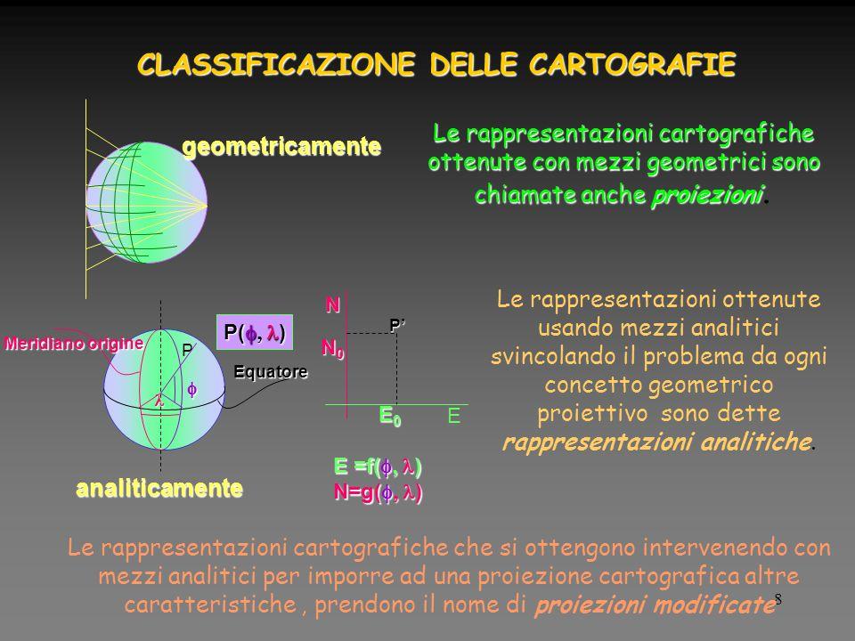 8 CLASSIFICAZIONE DELLE CARTOGRAFIE Le rappresentazioni cartografiche ottenute con mezzi geometrici sono chiamate anche proiezioni Le rappresentazioni cartografiche ottenute con mezzi geometrici sono chiamate anche proiezioni.