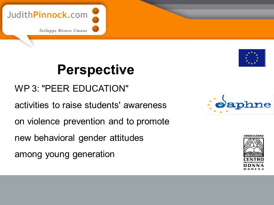 Perspective WP 3: PEER EDUCATION activities to raise students awareness on violence prevention and to promote new behavioral gender attitudes among young generation