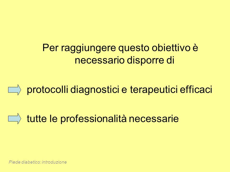 Per raggiungere questo obiettivo è necessario disporre di protocolli diagnostici e terapeutici efficaci tutte le professionalità necessarie Piede diab