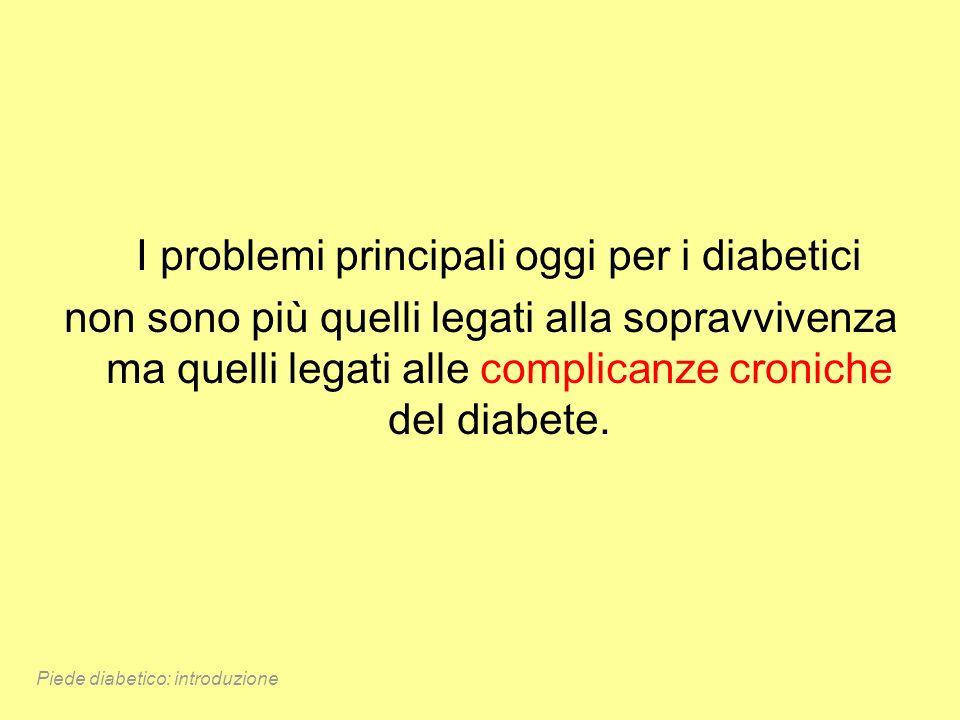 I problemi principali oggi per i diabetici non sono più quelli legati alla sopravvivenza ma quelli legati alle complicanze croniche del diabete. Piede