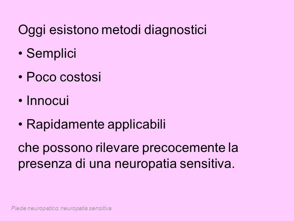 Piede neuropatico: neuropatia sensitiva Oggi esistono metodi diagnostici Semplici Poco costosi Innocui Rapidamente applicabili che possono rilevare pr