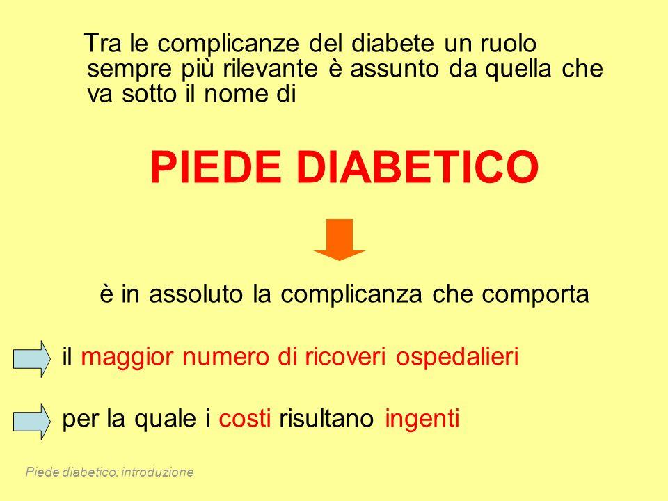 Tra le complicanze del diabete un ruolo sempre più rilevante è assunto da quella che va sotto il nome di PIEDE DIABETICO è in assoluto la complicanza