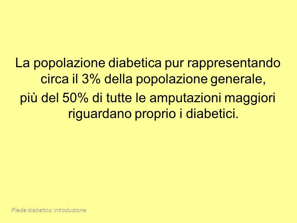 La popolazione diabetica pur rappresentando circa il 3% della popolazione generale, più del 50% di tutte le amputazioni maggiori riguardano proprio i
