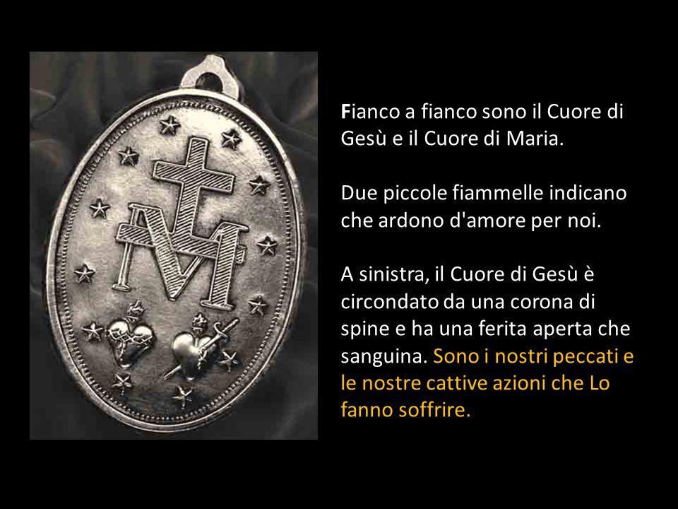La grande M sormontata da una croce, è liniziale del nome di Maria. Ai piedi della Croce incontriamo Maria che soffre e ci incoraggia all'unione compl