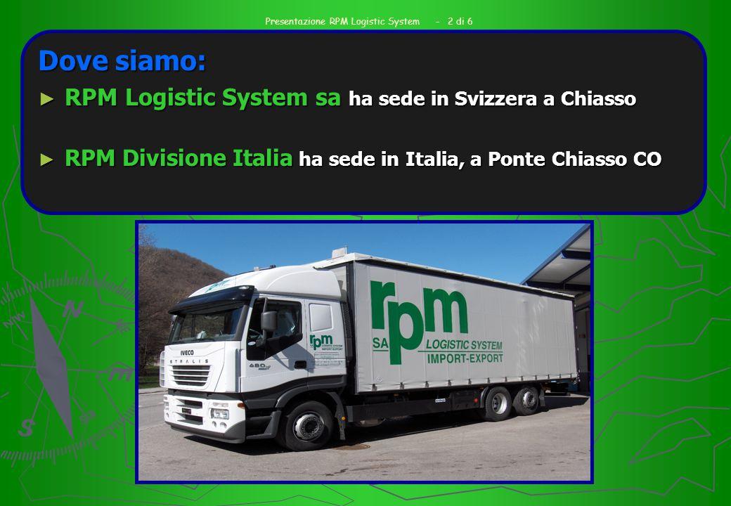 Chi siamo: La Società è costituita da RPM Logistic System sa e RPM Divisione Italia.