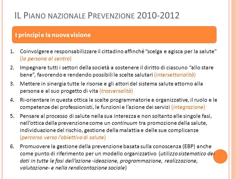 IL P IANO NAZIONALE P REVENZIONE 2010-2012 I principi e la nuova visione 1.Coinvolgere e responsabilizzare il cittadino affinché scelga e agisca per l