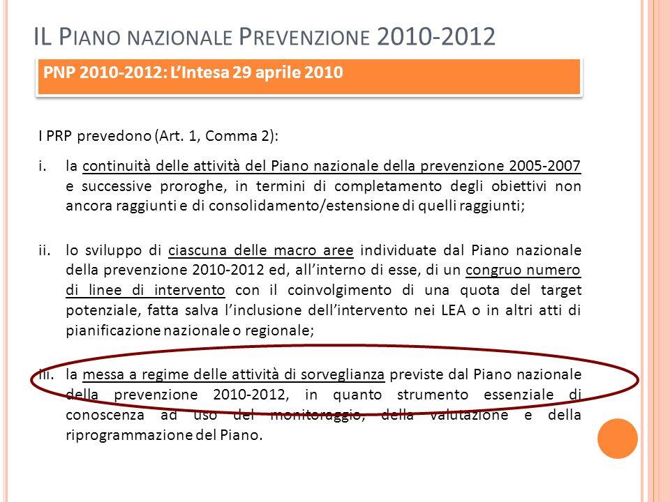 PNP 2010-2012: LIntesa 29 aprile 2010 I PRP prevedono (Art. 1, Comma 2): i.la continuità delle attività del Piano nazionale della prevenzione 2005-200