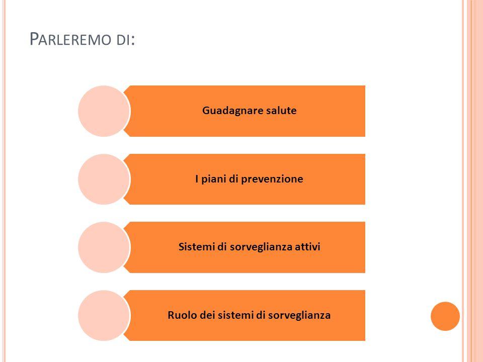 P ARLEREMO DI : Guadagnare salute I piani di prevenzione Sistemi di sorveglianza attivi Ruolo dei sistemi di sorveglianza