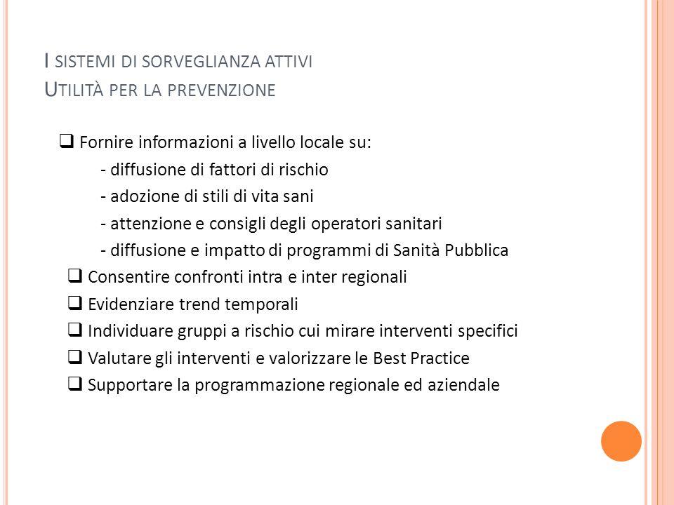 I SISTEMI DI SORVEGLIANZA ATTIVI U TILITÀ PER LA PREVENZIONE Fornire informazioni a livello locale su: - diffusione di fattori di rischio - adozione d