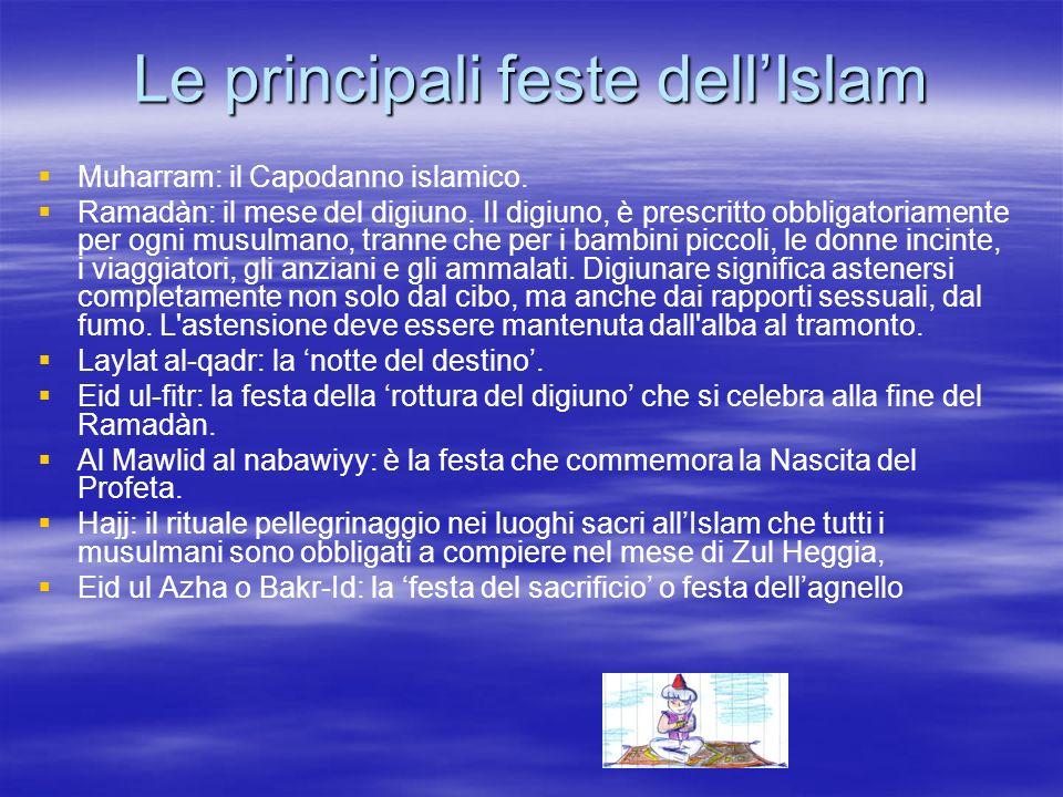 Le principali feste dellIslam Muharram: il Capodanno islamico. Ramadàn: il mese del digiuno. Il digiuno, è prescritto obbligatoriamente per ogni musul