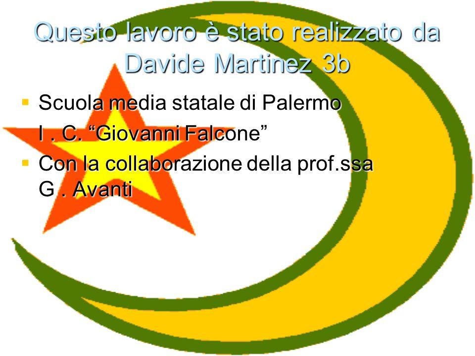 Questo lavoro è stato realizzato da Davide Martinez 3b Scuola media statale di Palermo Scuola media statale di Palermo I. C. Giovanni Falcone I. C. Gi