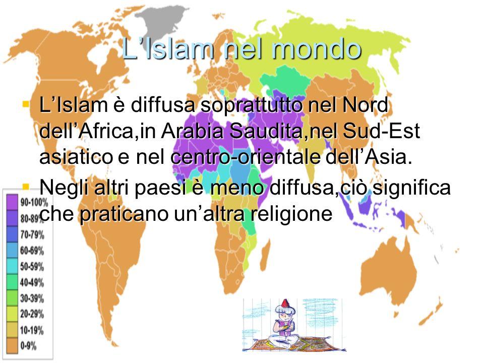 LIslam nel mondo LIslam è diffusa soprattutto nel Nord dellAfrica,in Arabia Saudita,nel Sud-Est asiatico e nel centro-orientale dellAsia. LIslam è dif