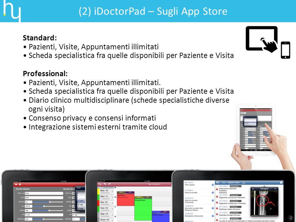 (2) iDoctorPad – Sugli App Store Standard: Pazienti, Visite, Appuntamenti illimitati Scheda specialistica fra quelle disponibili per Paziente e Visita