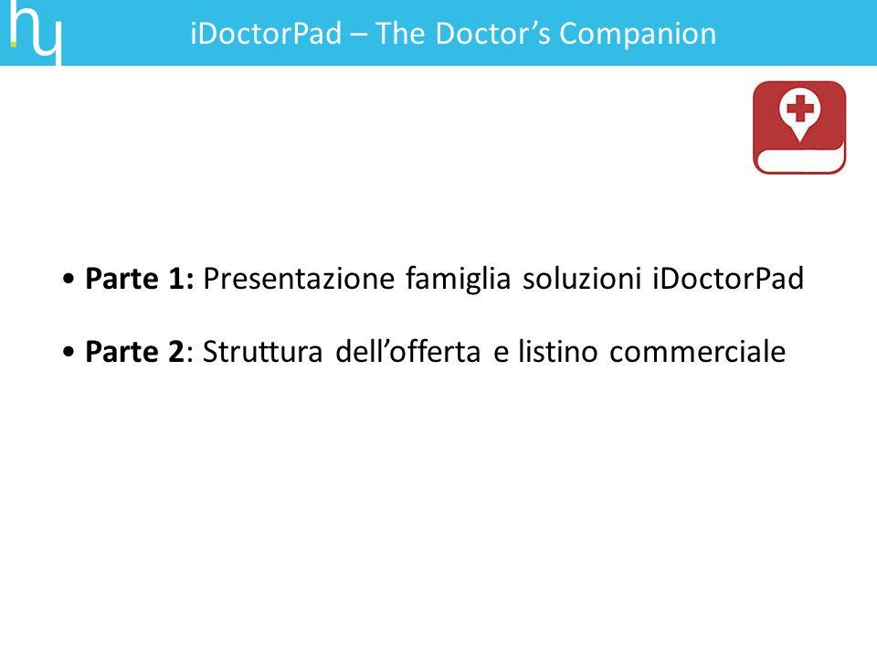 Parte 1: Presentazione famiglia soluzioni iDoctorPad Parte 2: Struttura dellofferta e listino commerciale iDoctorPad – The Doctors Companion