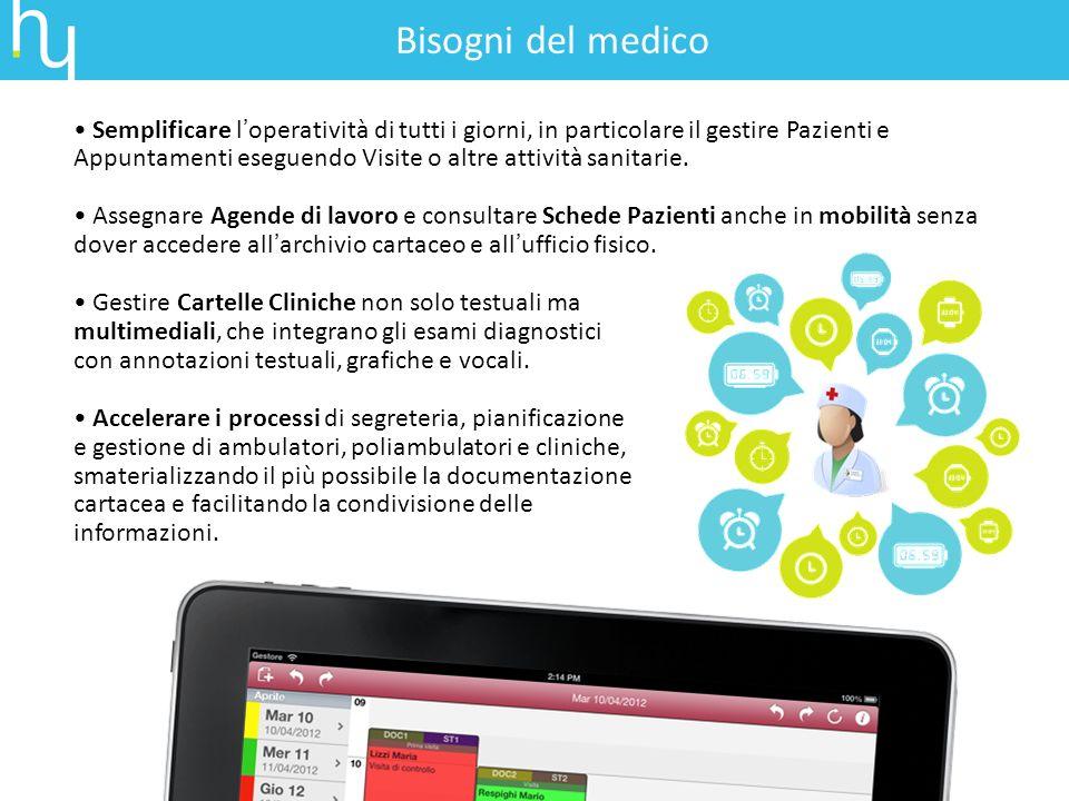 Semplificare loperatività di tutti i giorni, in particolare il gestire Pazienti e Appuntamenti eseguendo Visite o altre attività sanitarie. Assegnare