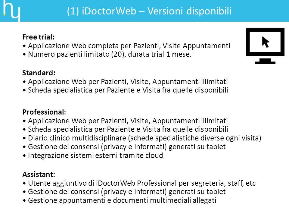 Free trial: Applicazione Web completa per Pazienti, Visite Appuntamenti Numero pazienti limitato (20), durata trial 1 mese. (1) iDoctorWeb – Versioni