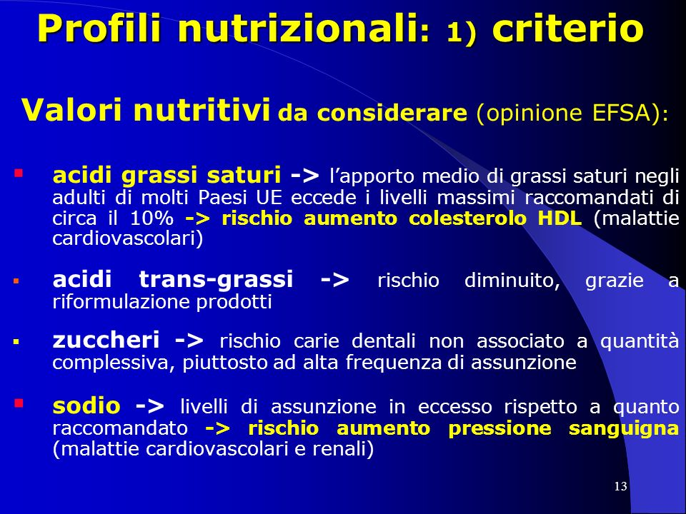 13 Profili nutrizionali : 1) criterio Valori nutritivi da considerare (opinione EFSA) : acidi grassi saturi -> lapporto medio di grassi saturi negli adulti di molti Paesi UE eccede i livelli massimi raccomandati di circa il 10% -> rischio aumento colesterolo HDL (malattie cardiovascolari) acidi trans-grassi -> rischio diminuito, grazie a riformulazione prodotti zuccheri -> rischio carie dentali non associato a quantità complessiva, piuttosto ad alta frequenza di assunzione sodio -> livelli di assunzione in eccesso rispetto a quanto raccomandato -> rischio aumento pressione sanguigna (malattie cardiovascolari e renali)
