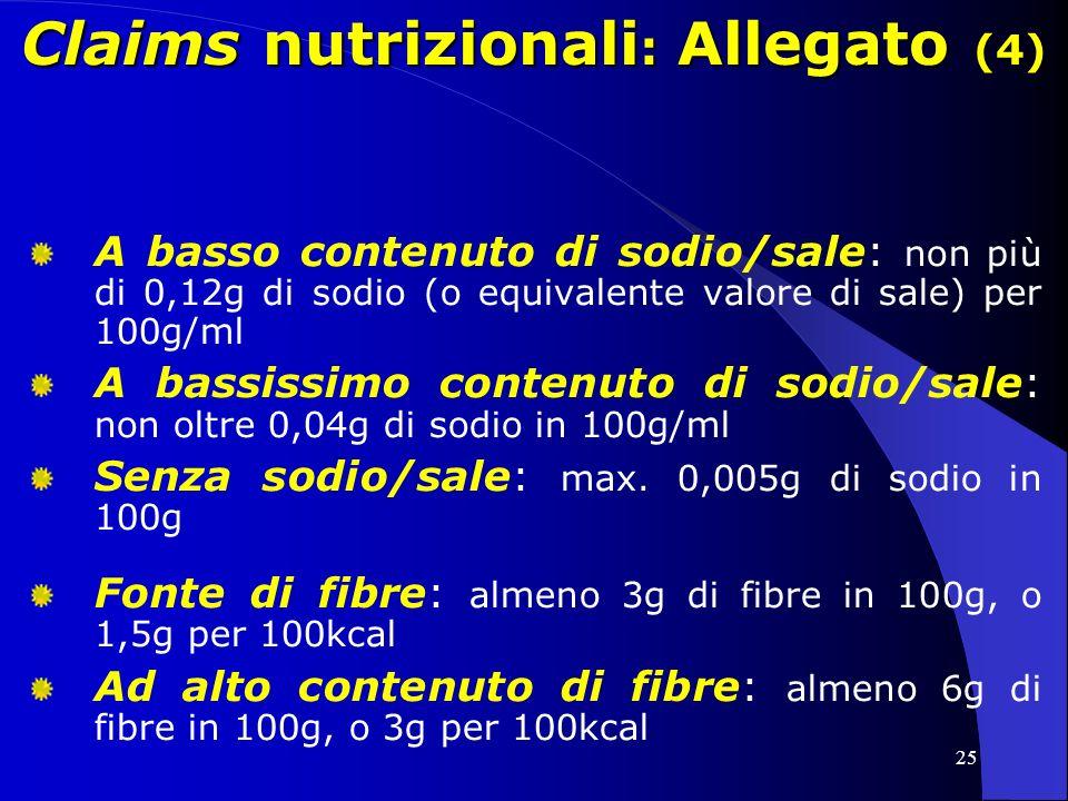 25 Claims nutrizionali : Allegato (4) A basso contenuto di sodio/sale: non più di 0,12g di sodio (o equivalente valore di sale) per 100g/ml A bassissimo contenuto di sodio/sale: non oltre 0,04g di sodio in 100g/ml Senza sodio/sale: max.