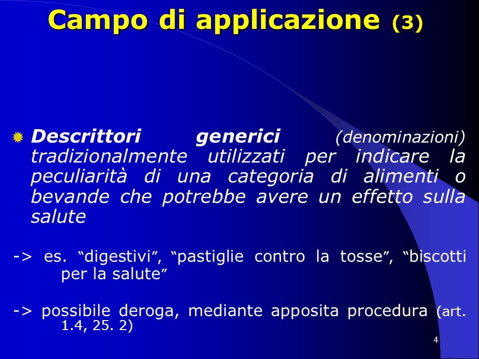 4 Campo di applicazione (3) Descrittori generici (denominazioni) tradizionalmente utilizzati per indicare la peculiarità di una categoria di alimenti o bevande che potrebbe avere un effetto sulla salute -> es.