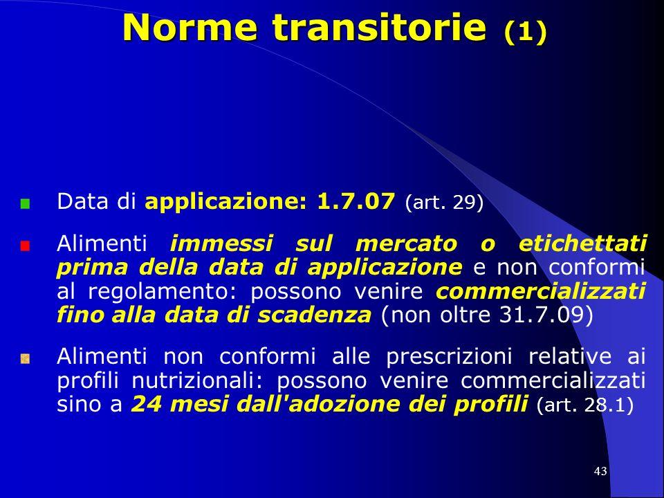 43 Norme transitorie (1) Data di applicazione: 1.7.07 (art.