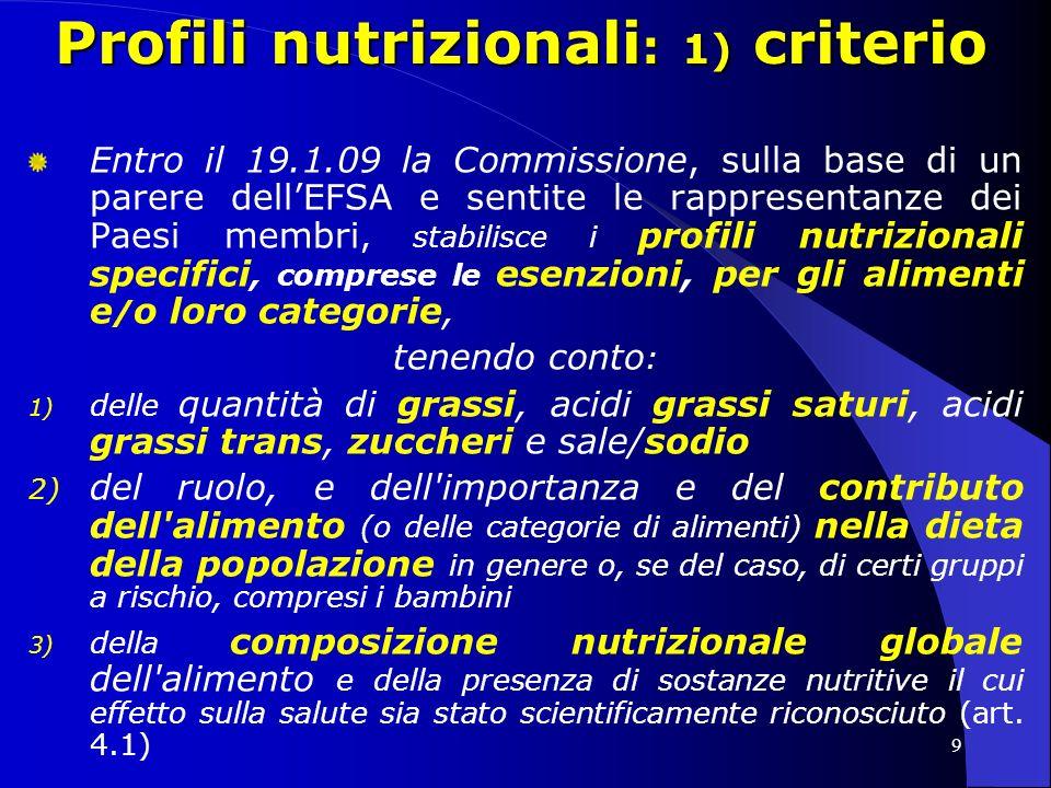 10 Profili nutrizionali : 1) criterio Due metodi possibili : 1) profili nutrizionali specifici, per i diversi gruppi di alimenti ( ipotesi favorita, modello SW, NL, CAN, AUS ) -> in relazione a ciascun gruppo, definire un criterio di selezione dei diversi alimenti in base al loro contenuto nutrizionale -> fissare i valori massimi (treshold) per taluni nutrienti 2) profilo nutrizionale unico, da applicarsi a tutti gli alimenti ( modello UK ) -> si attribuiscono a determinati valori punteggi positivi (es.