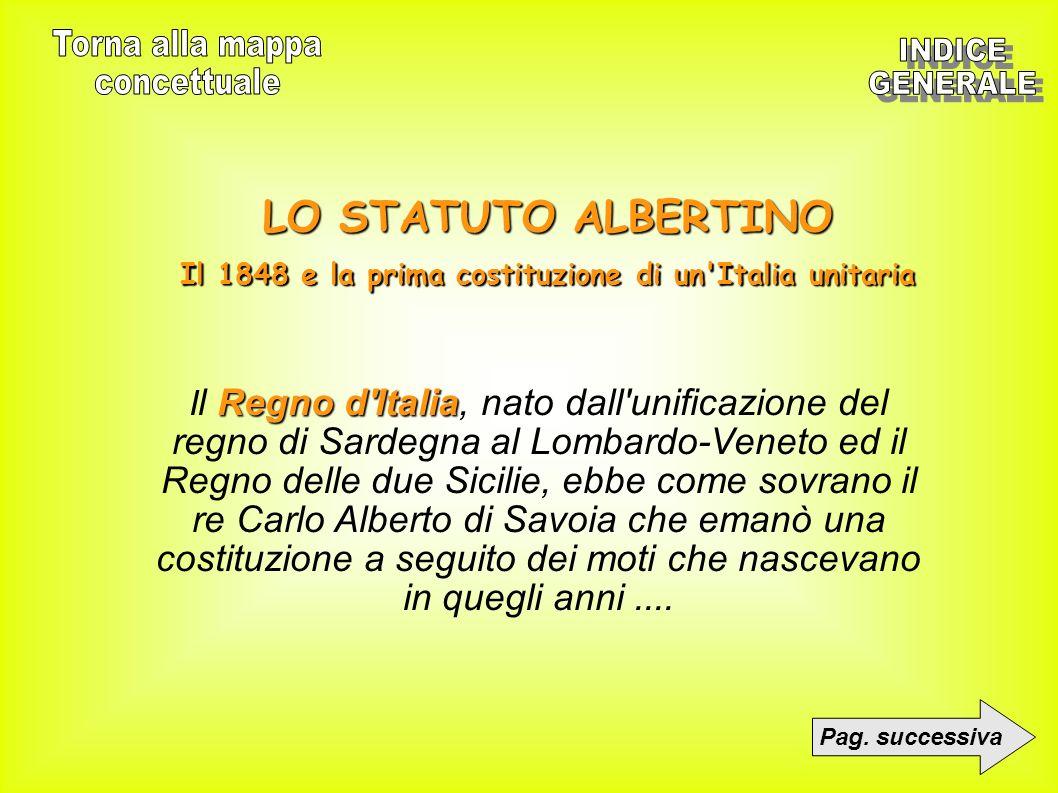 LO STATUTO ALBERTINO Il 1848 e la prima costituzione di un'Italia unitaria Pag. successiva Regno d'Italia I l Regno d'Italia, nato dall'unificazione d