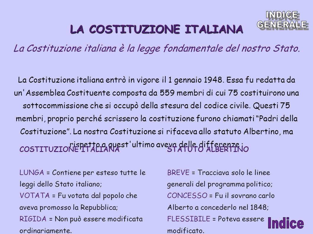 LA COSTITUZIONE ITALIANA La Costituzione italiana è la legge fondamentale del nostro Stato. La Costituzione italiana entrò in vigore il 1 gennaio 1948