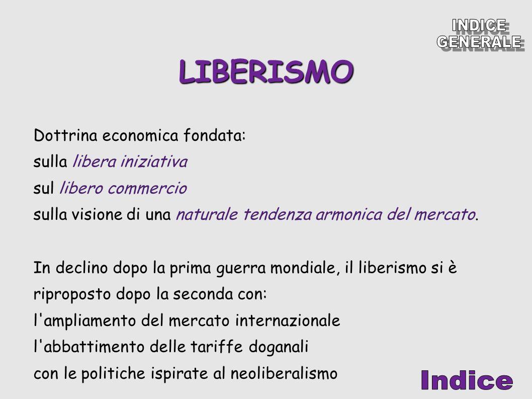 LIBERISMO Dottrina economica fondata: sulla libera iniziativa sul libero commercio sulla visione di una naturale tendenza armonica del mercato. In dec