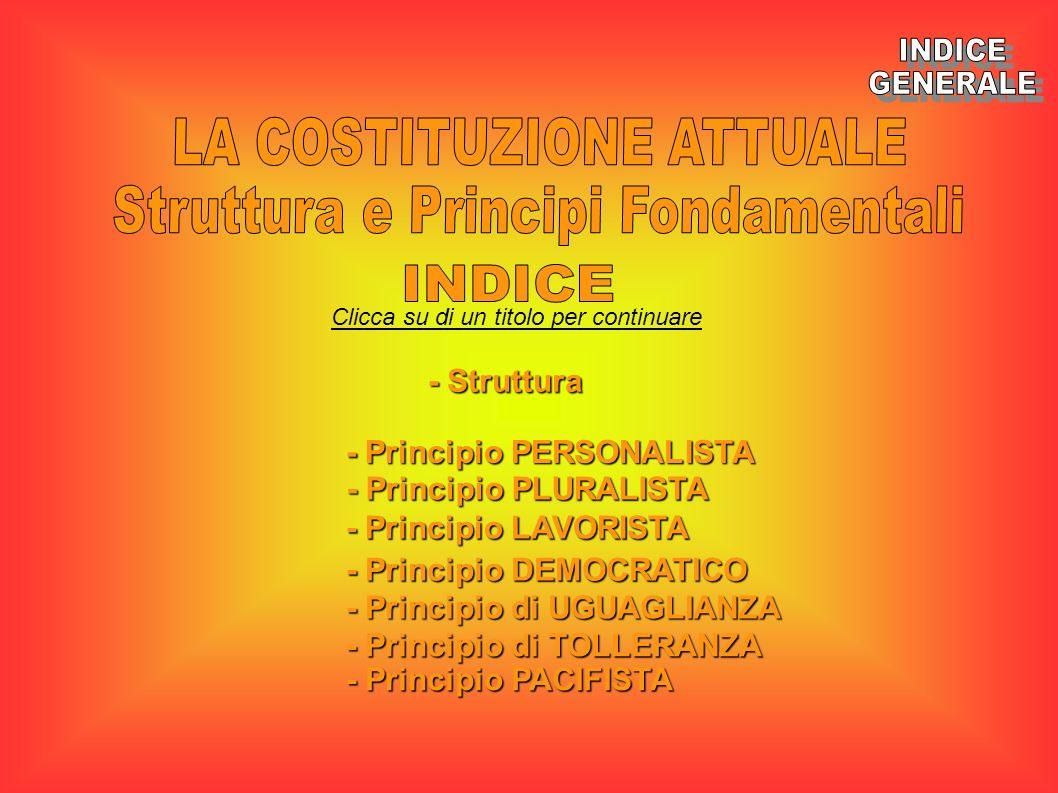 Clicca su di un titolo per continuare - Struttura - Struttura - Principio PLURALISTA - Principio PLURALISTA - Principio LAVORISTA - Principio LAVORIST