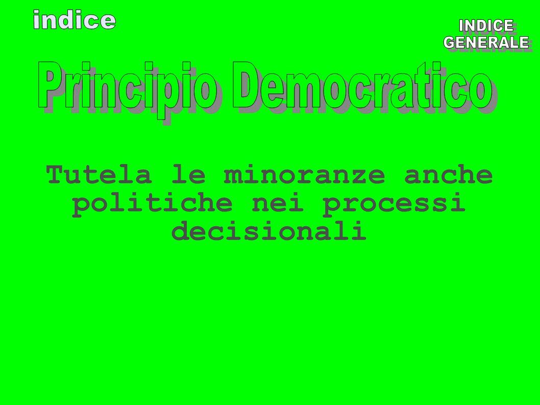 Tutela le minoranze anche politiche nei processi decisionali