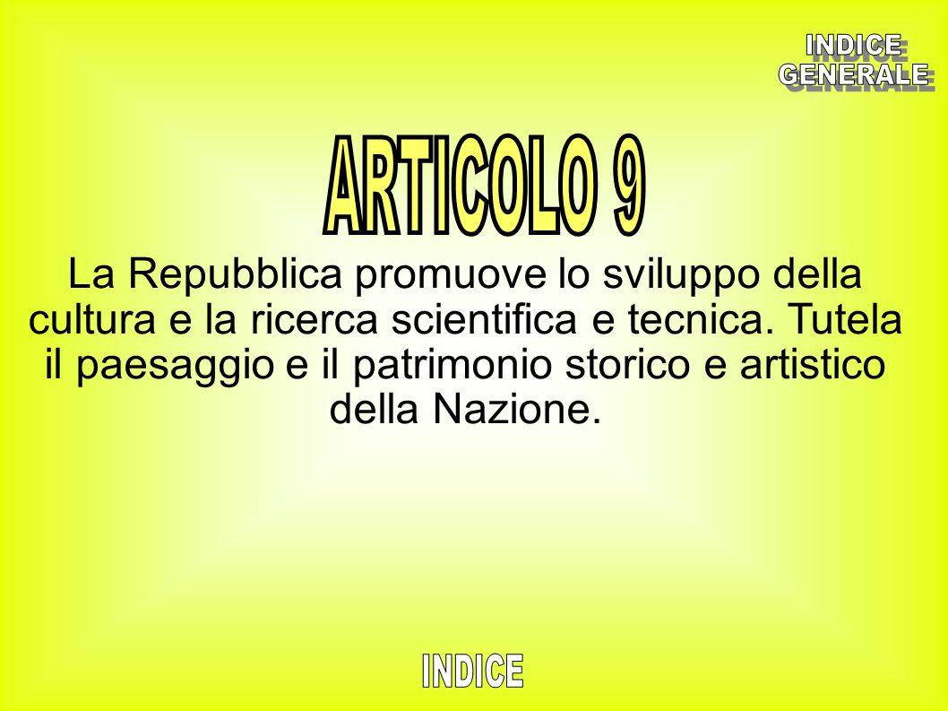 La Repubblica promuove lo sviluppo della cultura e la ricerca scientifica e tecnica. Tutela il paesaggio e il patrimonio storico e artistico della Naz