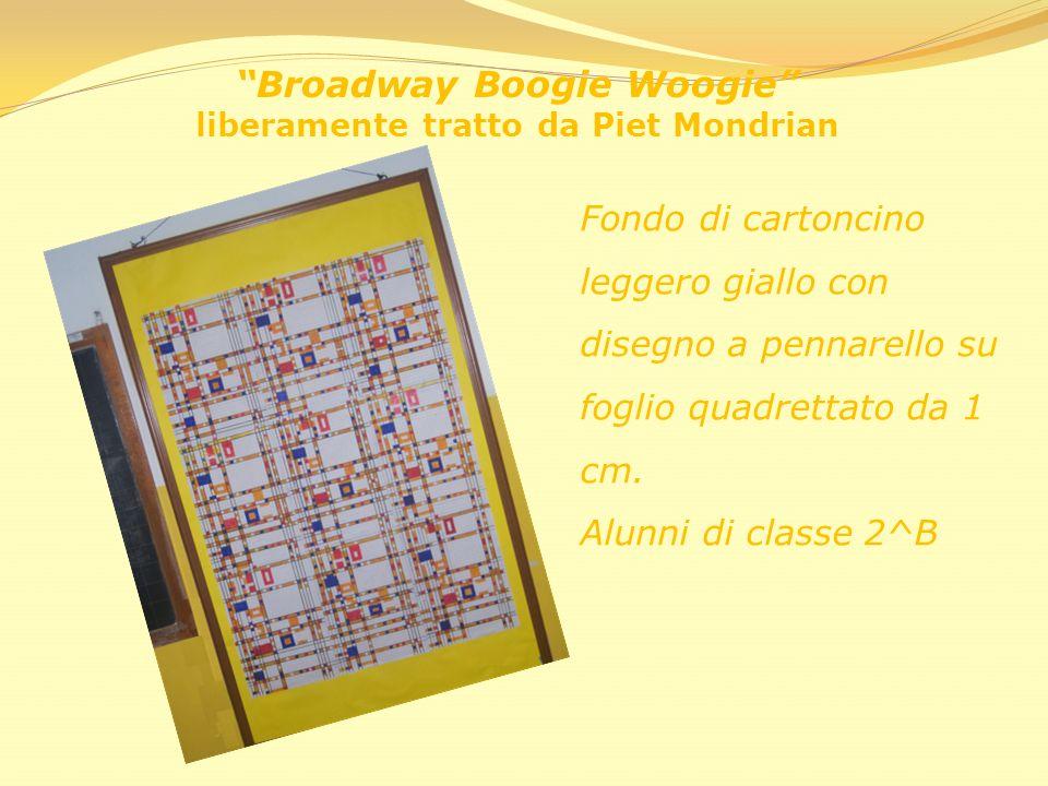 Broadway Boogie Woogie liberamente tratto da Piet Mondrian Fondo di cartoncino leggero giallo con disegno a pennarello su foglio quadrettato da 1 cm.