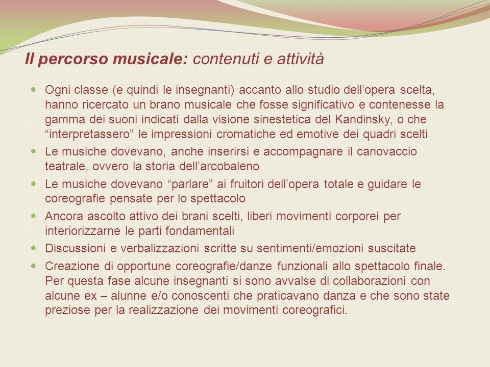 Il percorso musicale: contenuti e attività Ogni classe (e quindi le insegnanti) accanto allo studio dellopera scelta, hanno ricercato un brano musical