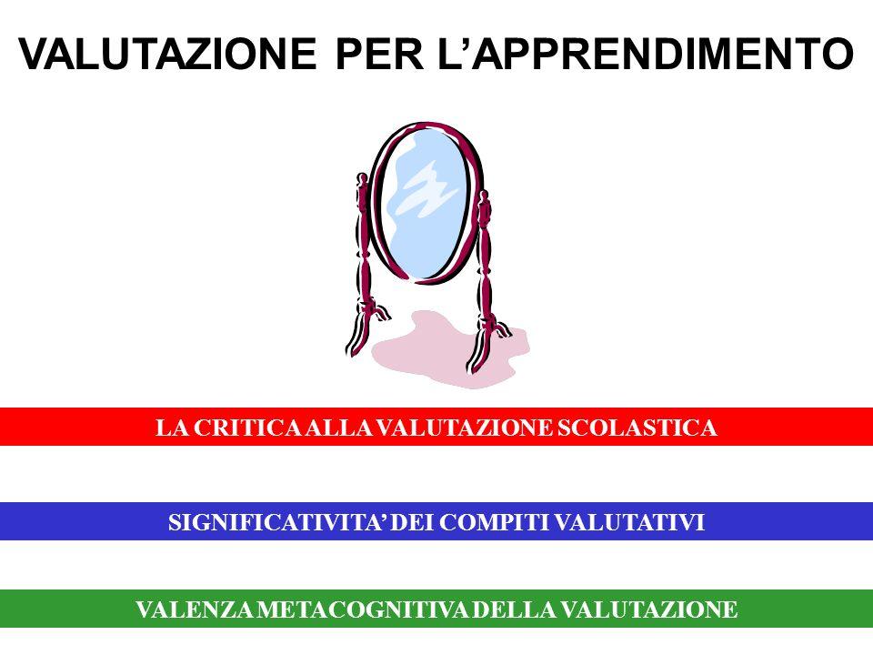 VALUTAZIONE PER LAPPRENDIMENTO SIGNIFICATIVITA DEI COMPITI VALUTATIVI LA CRITICA ALLA VALUTAZIONE SCOLASTICA VALENZA METACOGNITIVA DELLA VALUTAZIONE