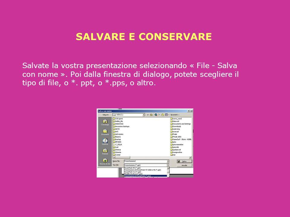 SFONDO Volendo è possibile selezionare o cambiare uno sfondo cliccando destro nella diaposistiva, e da « Sfondo » scegliere tramite il menu a discesa