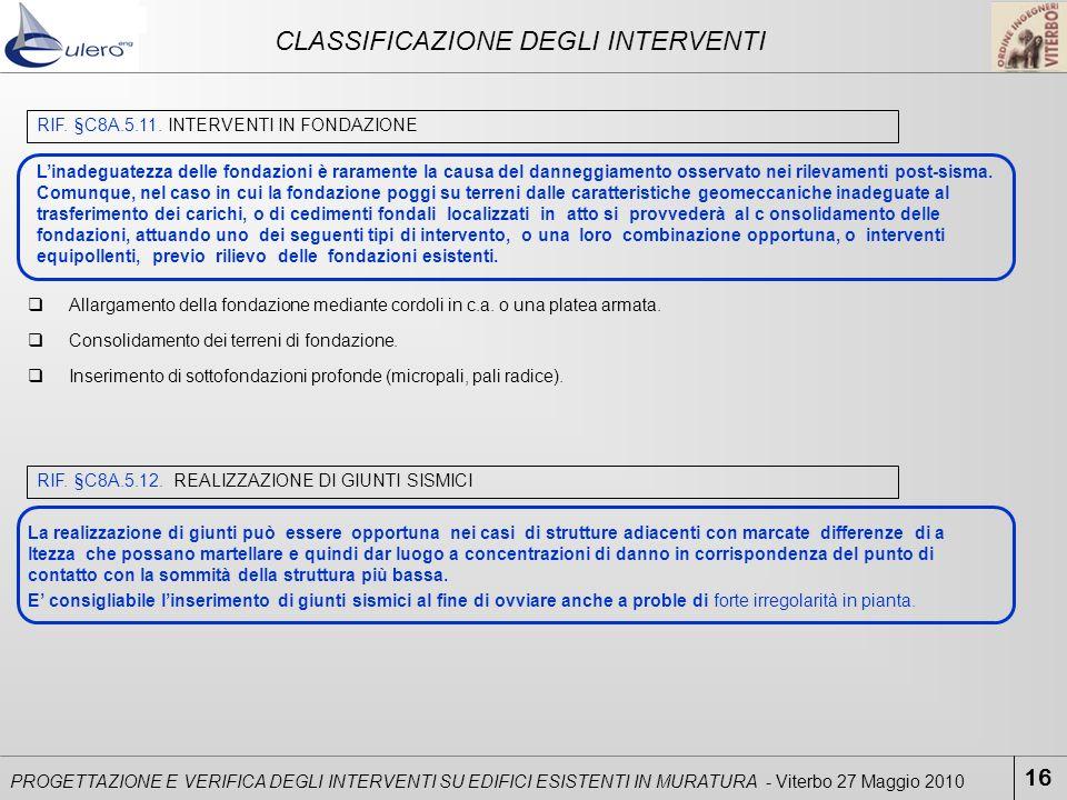 CLASSIFICAZIONE DEGLI INTERVENTI 16 PROGETTAZIONE E VERIFICA DEGLI INTERVENTI SU EDIFICI ESISTENTI IN MURATURA - Viterbo 27 Maggio 2010 RIF. §C8A.5.11