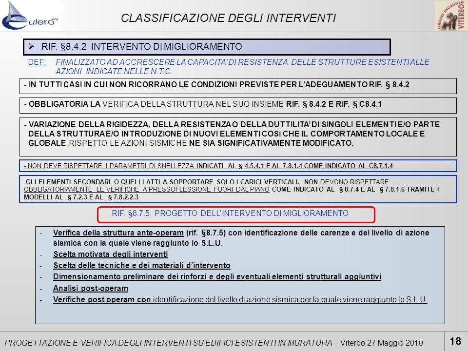 18 PROGETTAZIONE E VERIFICA DEGLI INTERVENTI SU EDIFICI ESISTENTI IN MURATURA - Viterbo 27 Maggio 2010 CLASSIFICAZIONE DEGLI INTERVENTI RIF. §8.4.2 IN