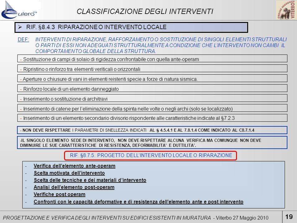 19 PROGETTAZIONE E VERIFICA DEGLI INTERVENTI SU EDIFICI ESISTENTI IN MURATURA - Viterbo 27 Maggio 2010 CLASSIFICAZIONE DEGLI INTERVENTI RIF. §8.4.3 RI