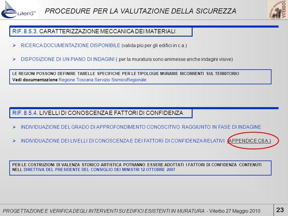 23 PROGETTAZIONE E VERIFICA DEGLI INTERVENTI SU EDIFICI ESISTENTI IN MURATURA - Viterbo 27 Maggio 2010 PROCEDURE PER LA VALUTAZIONE DELLA SICUREZZA RI