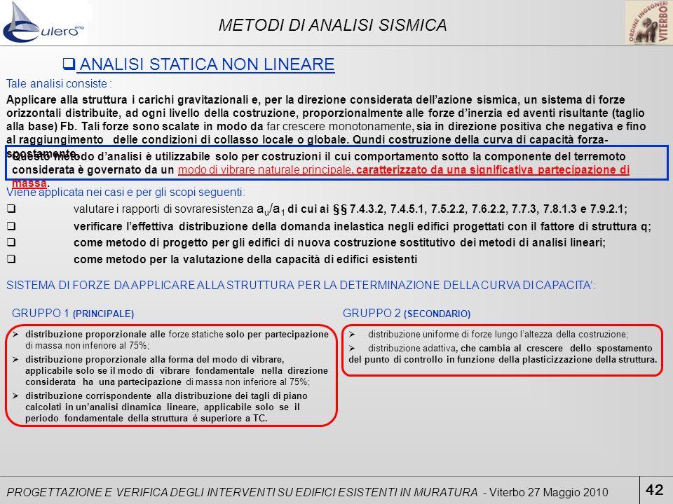 42 PROGETTAZIONE E VERIFICA DEGLI INTERVENTI SU EDIFICI ESISTENTI IN MURATURA - Viterbo 27 Maggio 2010 ANALISI STATICA NON LINEARE METODI DI ANALISI S