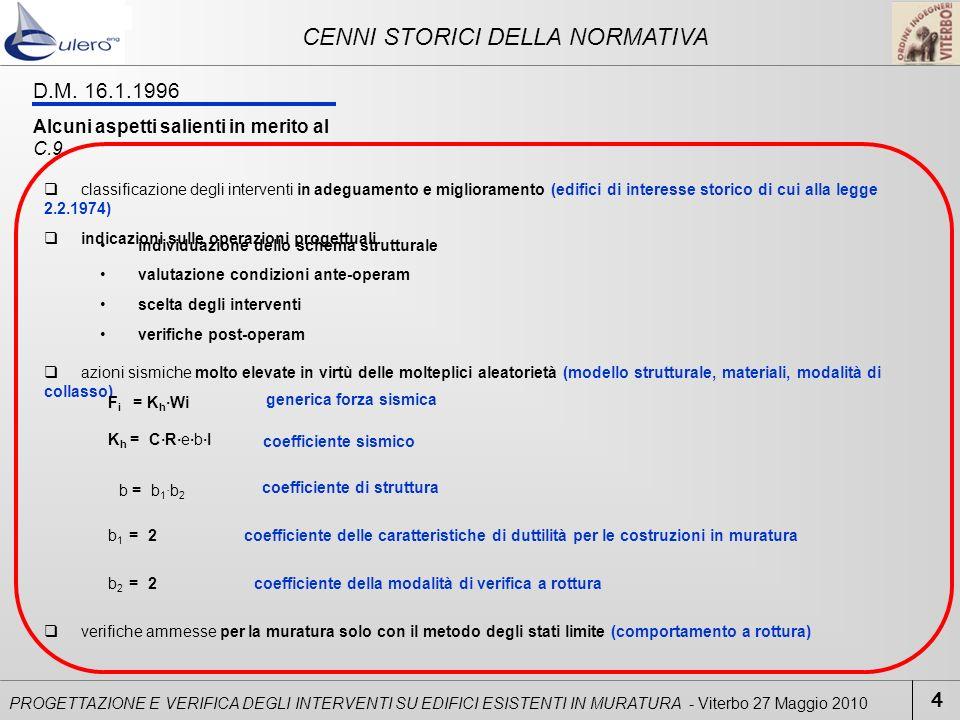 CENNI STORICI DELLA NORMATIVA 4 PROGETTAZIONE E VERIFICA DEGLI INTERVENTI SU EDIFICI ESISTENTI IN MURATURA - Viterbo 27 Maggio 2010 classificazione de