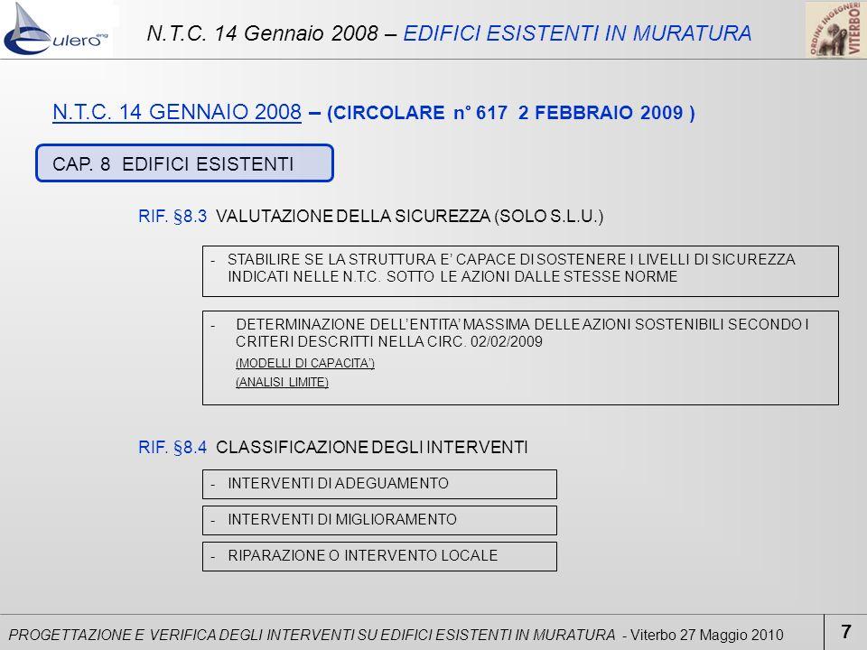 PROGETTAZIONE E VERIFICA DEGLI INTERVENTI SU EDIFICI ESISTENTI IN MURATURA - Viterbo 27 Maggio 2010 N.T.C. 14 GENNAIO 2008 – (CIRCOLARE n° 617 2 FEBBR