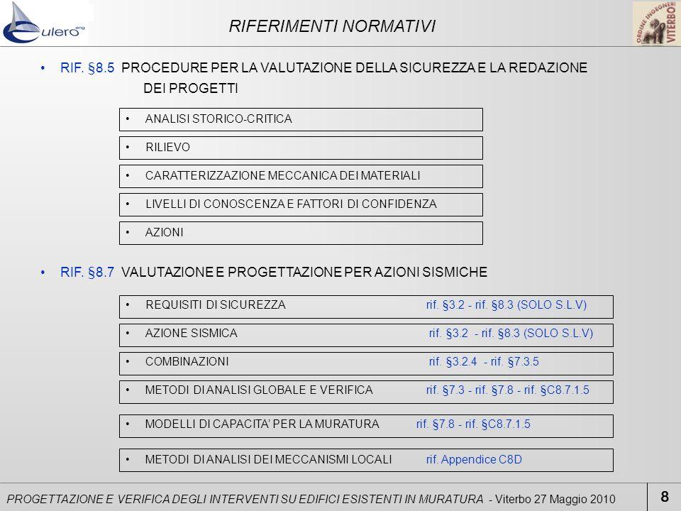 RIF. §8.5 PROCEDURE PER LA VALUTAZIONE DELLA SICUREZZA E LA REDAZIONE DEI PROGETTI ANALISI STORICO-CRITICA RILIEVO CARATTERIZZAZIONE MECCANICA DEI MAT