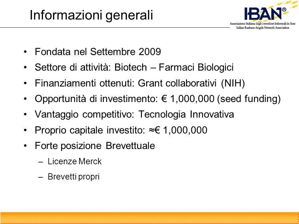 Informazioni generali Fondata nel Settembre 2009 Settore di attività: Biotech – Farmaci Biologici Finanziamenti ottenuti: Grant collaborativi (NIH) Op