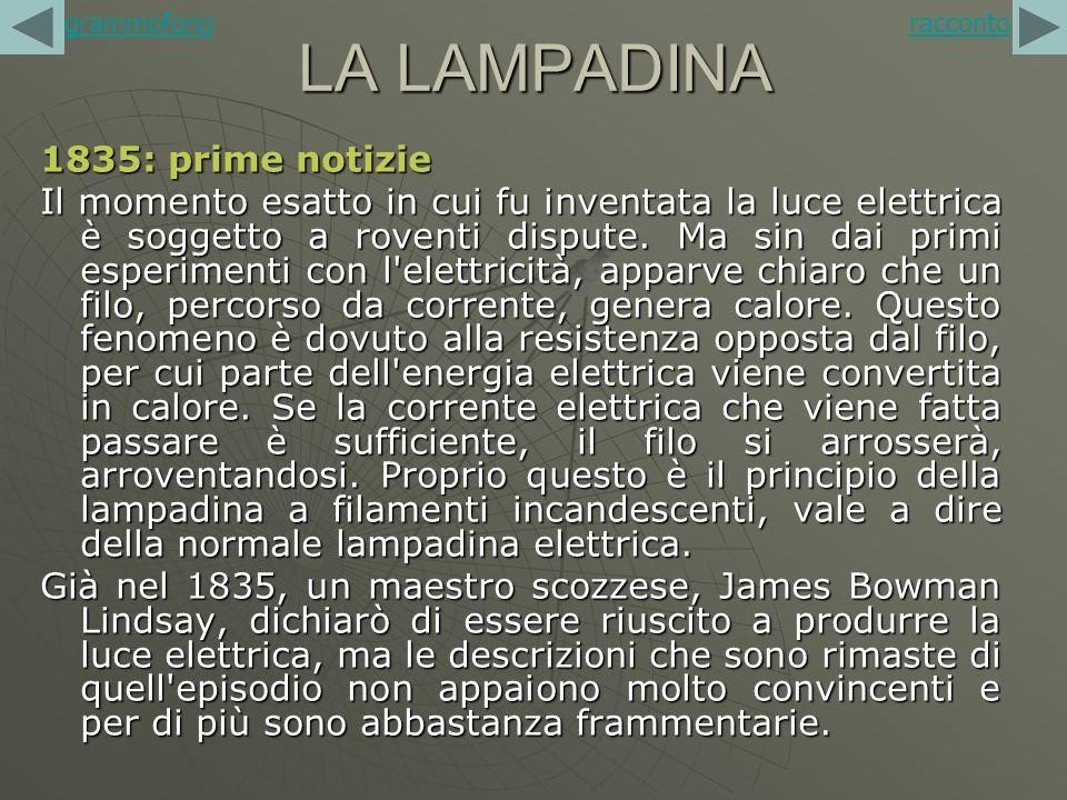 LA LAMPADINA 1835: prime notizie Il momento esatto in cui fu inventata la luce elettrica è soggetto a roventi dispute. Ma sin dai primi esperimenti co