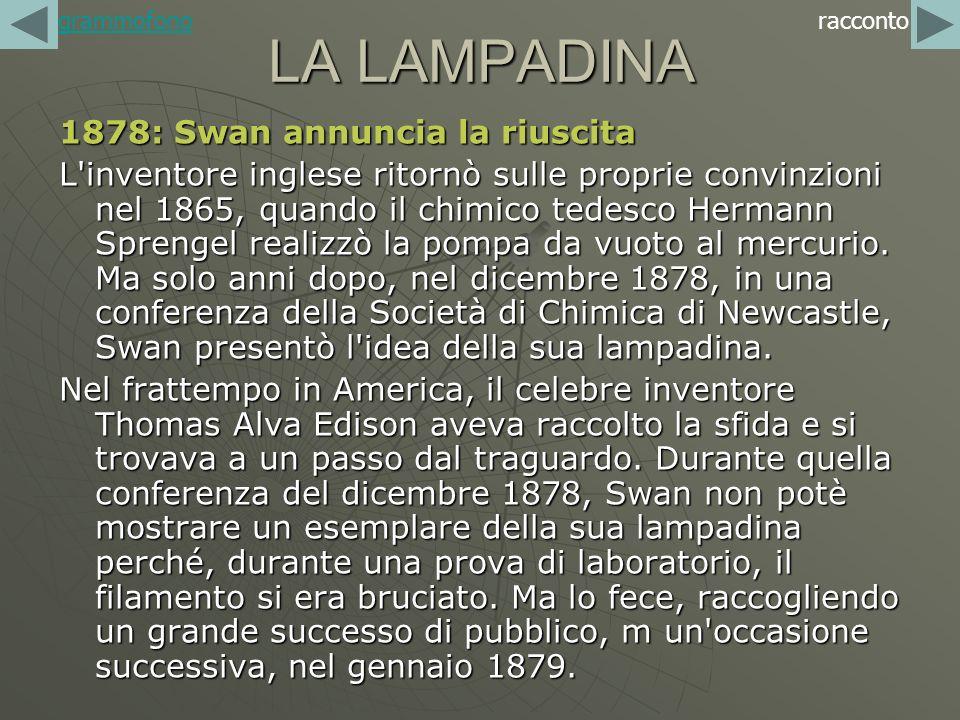 LA LAMPADINA 1878: Swan annuncia la riuscita L'inventore inglese ritornò sulle proprie convinzioni nel 1865, quando il chimico tedesco Hermann Sprenge