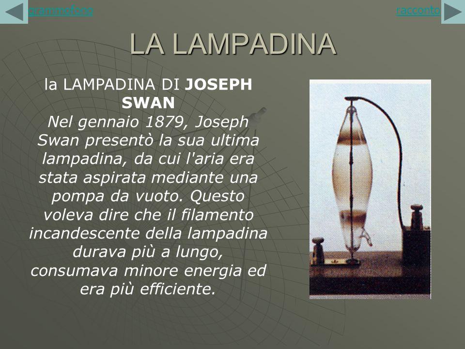 LA LAMPADINA racconto la LAMPADINA DI JOSEPH SWAN Nel gennaio 1879, Joseph Swan presentò la sua ultima lampadina, da cui l'aria era stata aspirata med